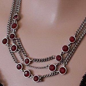 CHICOS Silvertone Chain and Red Crystals Necklace